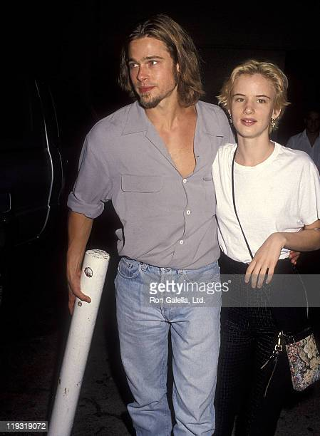 Actor Brad Pitt and actress Juliette Lewis attend 'The Last of the Mohichans' Hollywood Premiere on September 24 1992 at Mann's Chinese Theatre in...