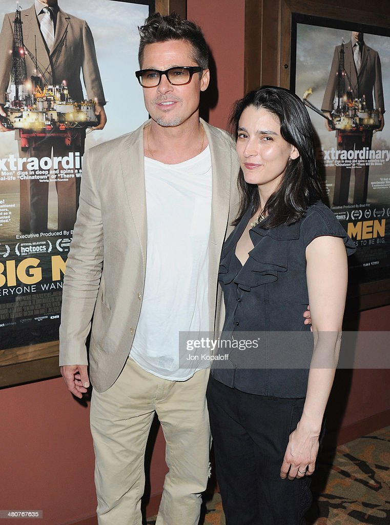 Actor Brad Pitt and director Rachel Boynton attend the Los Angeles Screening 'Big Men' at Sundance Sunset Cinema on March 26, 2014 in Los Angeles, California.