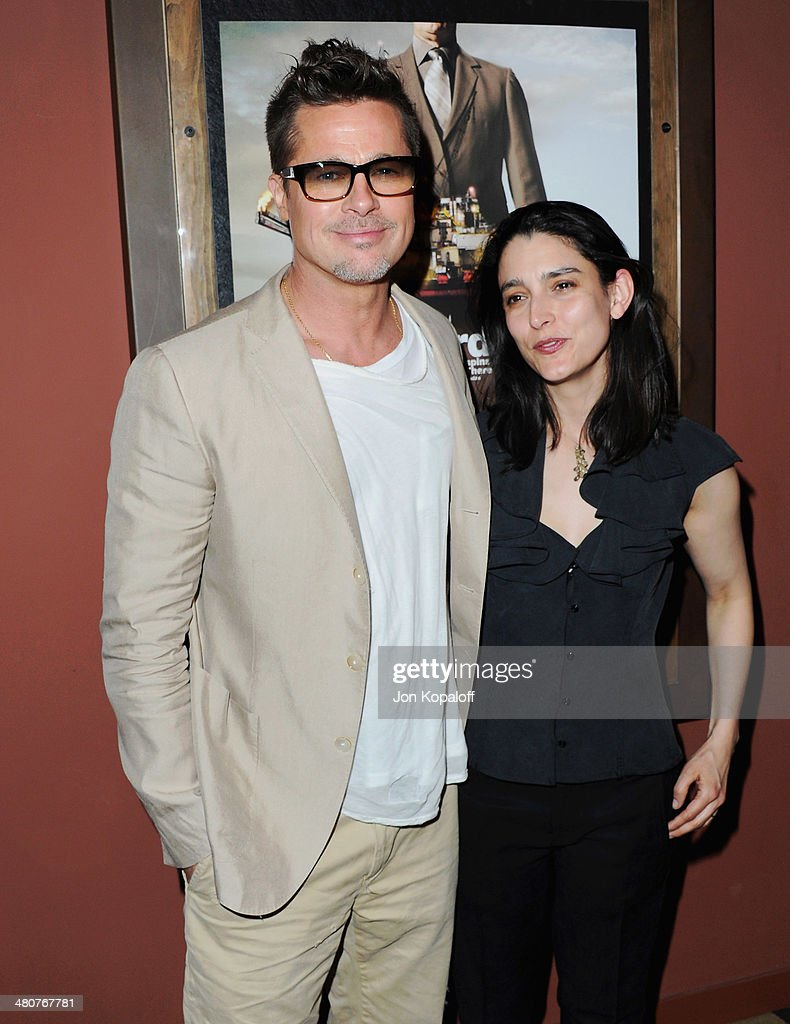Actor <a gi-track='captionPersonalityLinkClicked' href=/galleries/search?phrase=Brad+Pitt+-+Actor&family=editorial&specificpeople=201682 ng-click='$event.stopPropagation()'>Brad Pitt</a> and director Rachel Boynton attend the Los Angeles Screening 'Big Men' at Sundance Sunset Cinema on March 26, 2014 in Los Angeles, California.