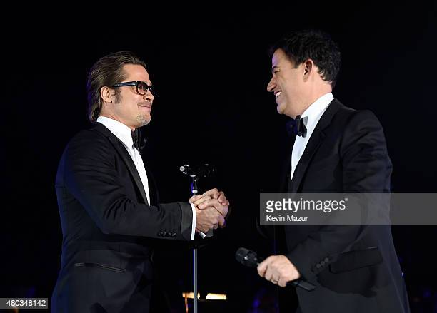 Actor Brad Pitt and host Jimmy Kimmel onstage at The Inaugural Diamond Ball presented by Rihanna and The Clara Lionel Foundation at The Vineyard on...