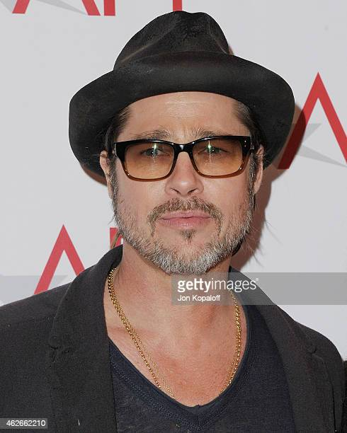 Actor Brad Pitt arrives at the 15th Annual AFI Awards at Four Seasons Hotel Los Angeles at Beverly Hills on January 9 2015 in Beverly Hills California