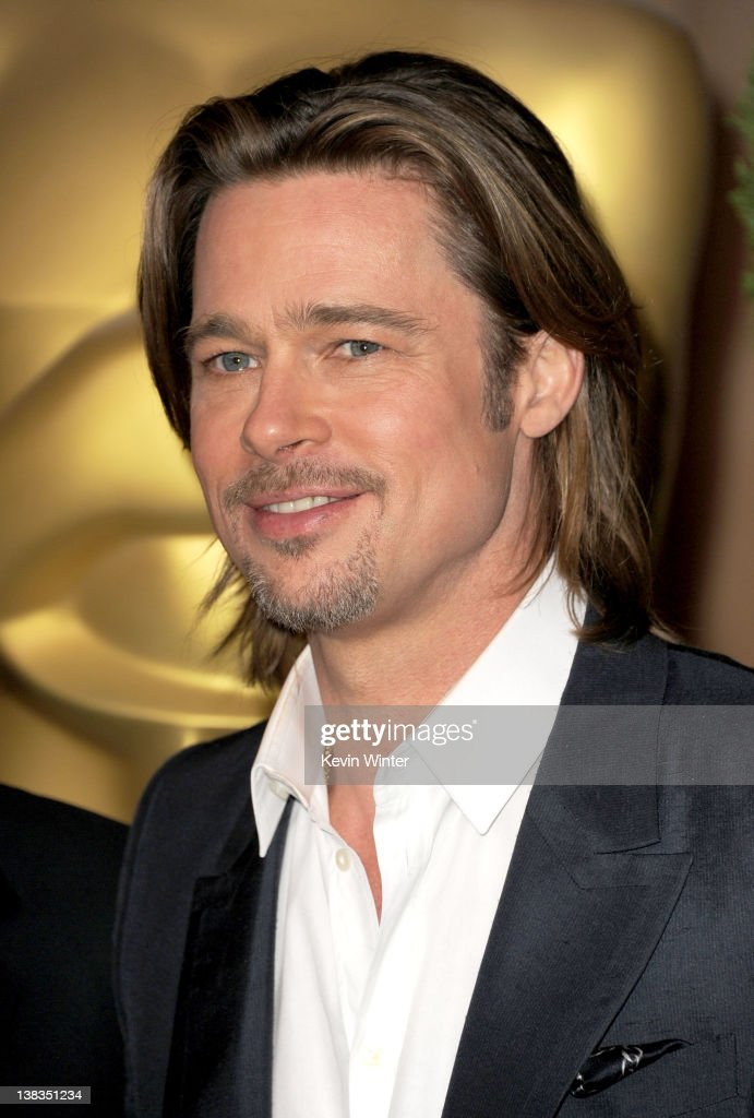Actor Brad Pitt arrives at the 84th Academy Awards Nominations Luncheon at The Beverly Hilton hotel on February 6 2012 in Beverly Hills California