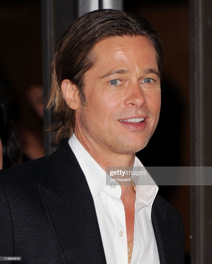 Actor Brad Pitt arrives at the Los Angeles Premiere 'The Tree Of Life' at the Bing Theatre at LACMA on May 24 2011 in Los Angeles California