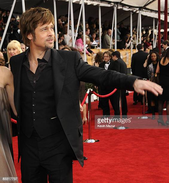 Actor Brad Pitt arrives to the TNT/TBS broadcast of the 14th Annual Screen Actors Guild Awards at the Shrine Auditorium on January 27 2008 in Los...