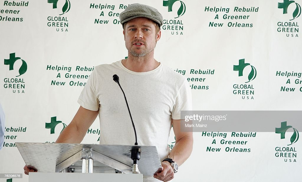Actor Brad Pitt attends a press conference for the Global Green USA's first house project at the Holy Cross Neigbourhood association project in the...