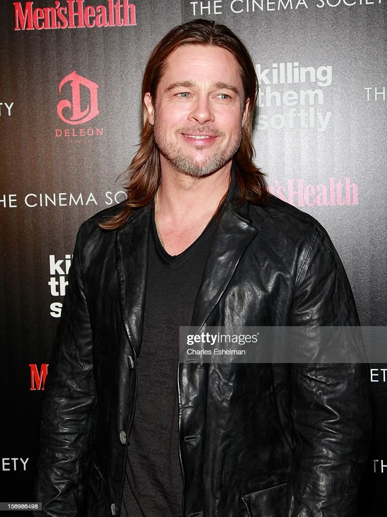 Actor <a gi-track='captionPersonalityLinkClicked' href=/galleries/search?phrase=Brad+Pitt+-+Actor&family=editorial&specificpeople=201682 ng-click='$event.stopPropagation()'>Brad Pitt</a> attends a screening of The Weinstein Company's 'Killing Them Softly' hosted by The Cinema Society with Men's Health and DeLeon Tequila at SVA Theatre on November 26, 2012 in New York City.