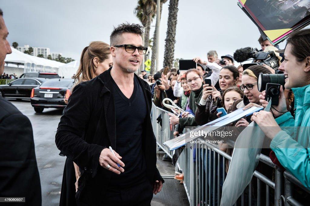 Actor Brad Pitt attends the 2014 Film Independent Spirit Awards at Santa Monica Beach on March 1, 2014 in Santa Monica, California.