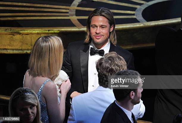 Actor Brad Pitt attends the 84th Annual Academy Awards held at the Hollywood Highland Center on February 26 2012 in Hollywood California