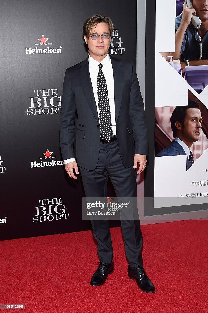 Actor Brad Pitt attends 'The Big Short' Premiere at Ziegfeld Theatre on November 23, 2015 in New York City.