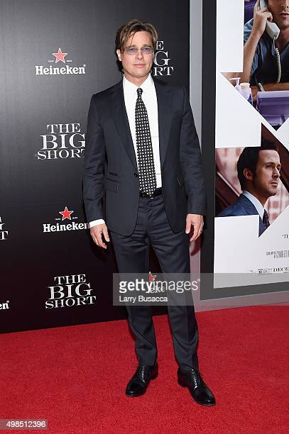 Actor Brad Pitt attends 'The Big Short' Premiere at Ziegfeld Theatre on November 23 2015 in New York City