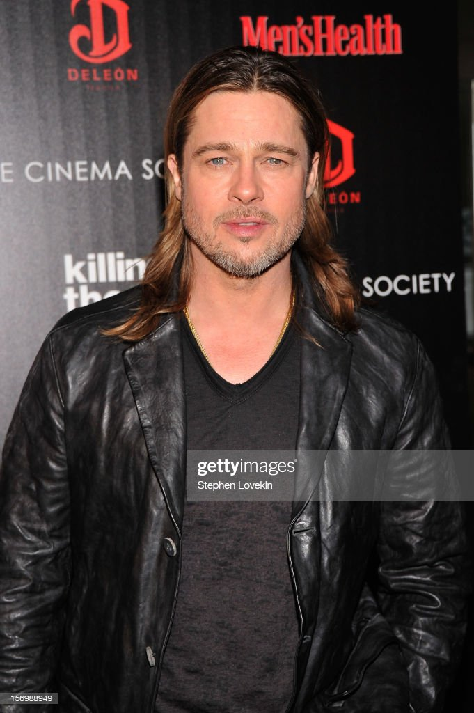Actor <a gi-track='captionPersonalityLinkClicked' href=/galleries/search?phrase=Brad+Pitt+-+Actor&family=editorial&specificpeople=201682 ng-click='$event.stopPropagation()'>Brad Pitt</a> attends The Cinema Society with Men's Health and DeLeon hosted screening of The Weinstein Company's 'Killing Them Softly' on November 26, 2012 in New York City.