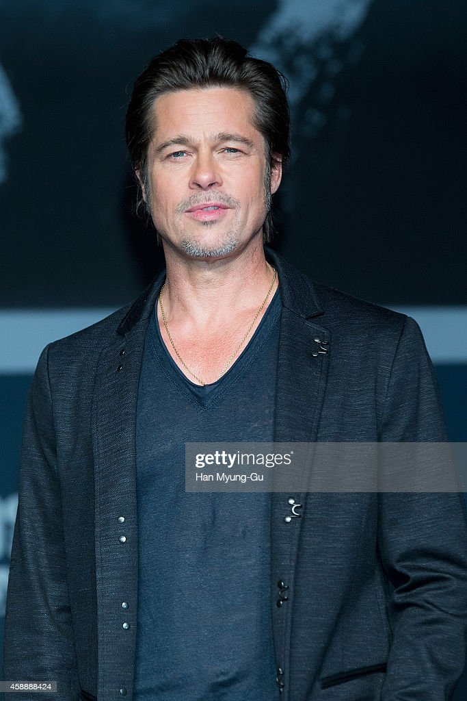 Actor <a gi-track='captionPersonalityLinkClicked' href=/galleries/search?phrase=Brad+Pitt+-+Actor&family=editorial&specificpeople=201682 ng-click='$event.stopPropagation()'>Brad Pitt</a> attends the 'Fury' press conference at Conrad Hotel on November 13, 2014 in Seoul, South Korea. The film will open on November 20, in South Korea.