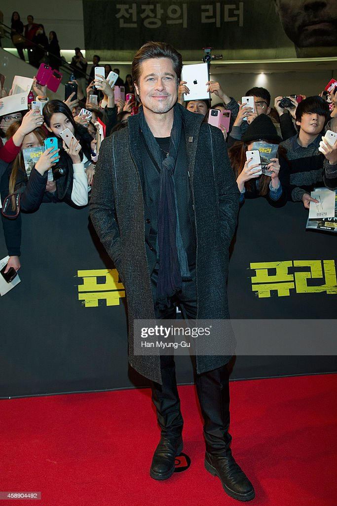 Actor Brad Pitt attends the 'Fury' Seoul Premiere at Times Square on November 13 2014 in Seoul South Korea The film will open on November 20 in South...