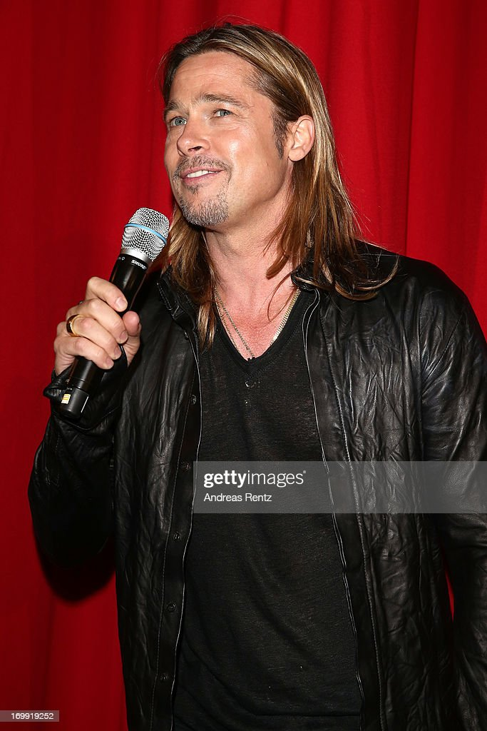 Actor <a gi-track='captionPersonalityLinkClicked' href=/galleries/search?phrase=Brad+Pitt+-+Actor&family=editorial&specificpeople=201682 ng-click='$event.stopPropagation()'>Brad Pitt</a> attends the stage presentation at 'WORLD WAR Z' Germany Premiere at Sony Centre on June 4, 2013 in Berlin, Germany.