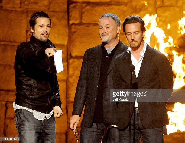 Actor Brad Pitt director David Fincher and actor Edward Norton onstage at Spike TV's 2009 'Guys Choice Awards' held at the Sony Studios on May 30...
