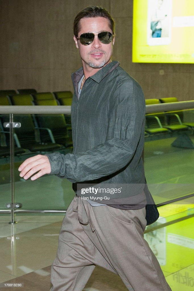 Actor <a gi-track='captionPersonalityLinkClicked' href=/galleries/search?phrase=Brad+Pitt+-+Actor&family=editorial&specificpeople=201682 ng-click='$event.stopPropagation()'>Brad Pitt</a> is seen upon arrival at Gimpo Airport on June 11, 2013 in Seoul, South Korea. <a gi-track='captionPersonalityLinkClicked' href=/galleries/search?phrase=Brad+Pitt+-+Actor&family=editorial&specificpeople=201682 ng-click='$event.stopPropagation()'>Brad Pitt</a> is visiting South Korea to promote his recent film 'World War Z' which will be released in South Korea on June 20.