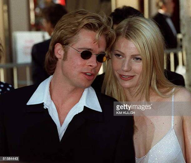Actor Brad Pitt nominee for best supporting actor for his role as ' Jeffrey Goines' in '12 Monkeys' and his companion Gwyneph Paltrow arrives at the...