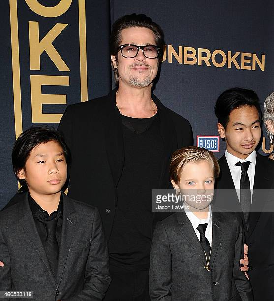 Actor Brad Pitt Pax Thien JoliePitt Shiloh Nouvel JoliePitt and Maddox JoliePitt attend the premiere of 'Unbroken' at TCL Chinese Theatre IMAX on...