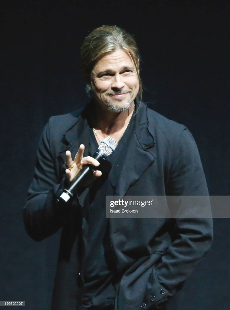 Actor <a gi-track='captionPersonalityLinkClicked' href=/galleries/search?phrase=Brad+Pitt&family=editorial&specificpeople=201682 ng-click='$event.stopPropagation()'>Brad Pitt</a> speaks at a Paramount Pictures presentation to promote his upcoming film, 'World War Z' during CinemaCon at The Colosseum at Caesars Palace on April 15, 2013 in Las Vegas, Nevada.