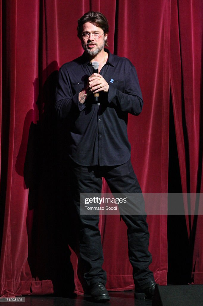 Actor Brad Pitt speaks on stage during the 3rd Light Up the Blues Concert to benefit Autism Speaks held at the Pantages Theatre on April 25, 2015 in Hollywood, California.