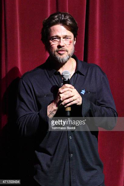 Actor Brad Pitt speaks on stage during the 3rd Light Up the Blues Concert to benefit Autism Speaks held at the Pantages Theatre on April 25 2015 in...