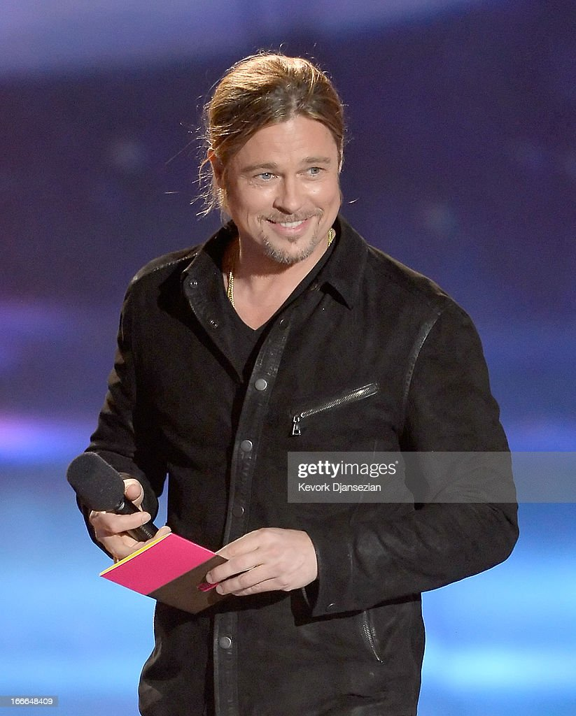 Actor <a gi-track='captionPersonalityLinkClicked' href=/galleries/search?phrase=Brad+Pitt+-+Acteur&family=editorial&specificpeople=201682 ng-click='$event.stopPropagation()'>Brad Pitt</a> speaks onstage during the 2013 MTV Movie Awards at Sony Pictures Studios on April 14, 2013 in Culver City, California.