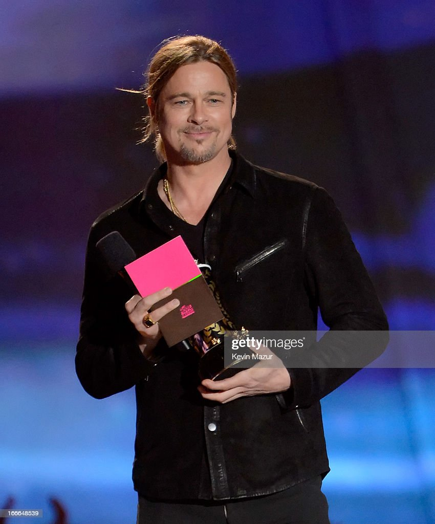 Actor <a gi-track='captionPersonalityLinkClicked' href=/galleries/search?phrase=Brad+Pitt&family=editorial&specificpeople=201682 ng-click='$event.stopPropagation()'>Brad Pitt</a> speaks onstage during the 2013 MTV Movie Awards at Sony Pictures Studios on April 14, 2013 in Culver City, California.
