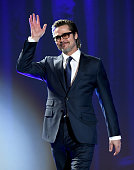 Actor Brad Pitt speaks onstage during the 26th Annual Palm Springs International Film Festival Awards Gala at Palm Springs Convention Center on...