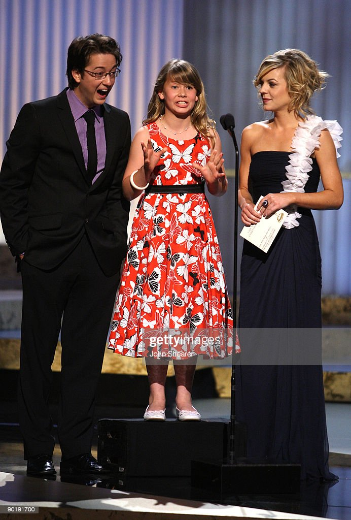 Actor Bradford Anderson, TV Personality Bindi Irwin and actress Kirsten Storms present the Emmy for Outstanding Talk Show/Entertainment during the 36th Annual Daytime Emmy Awards at The Orpheum Theatre on August 30, 2009 in Los Angeles, California.