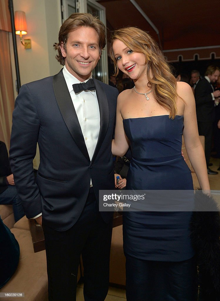 Actor <a gi-track='captionPersonalityLinkClicked' href=/galleries/search?phrase=Bradley+Cooper&family=editorial&specificpeople=680224 ng-click='$event.stopPropagation()'>Bradley Cooper</a> (L) and actress <a gi-track='captionPersonalityLinkClicked' href=/galleries/search?phrase=Jennifer+Lawrence&family=editorial&specificpeople=1596040 ng-click='$event.stopPropagation()'>Jennifer Lawrence</a> attend The Weinstein Company's SAG Awards After Party Presented By FIJI Water at Sunset Tower on January 27, 2013 in West Hollywood, California.