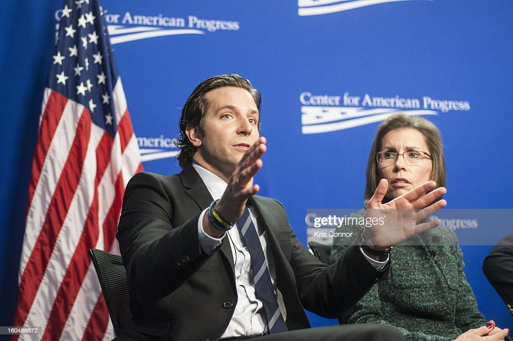 Actor Bradley Cooper and Barbara Van Dahlen, founder of Give an Hour, speaks during the 'Silver Lining Playbook' mental health progress press conference at Center For American Progress on February 1, 2013 in Washington, DC.