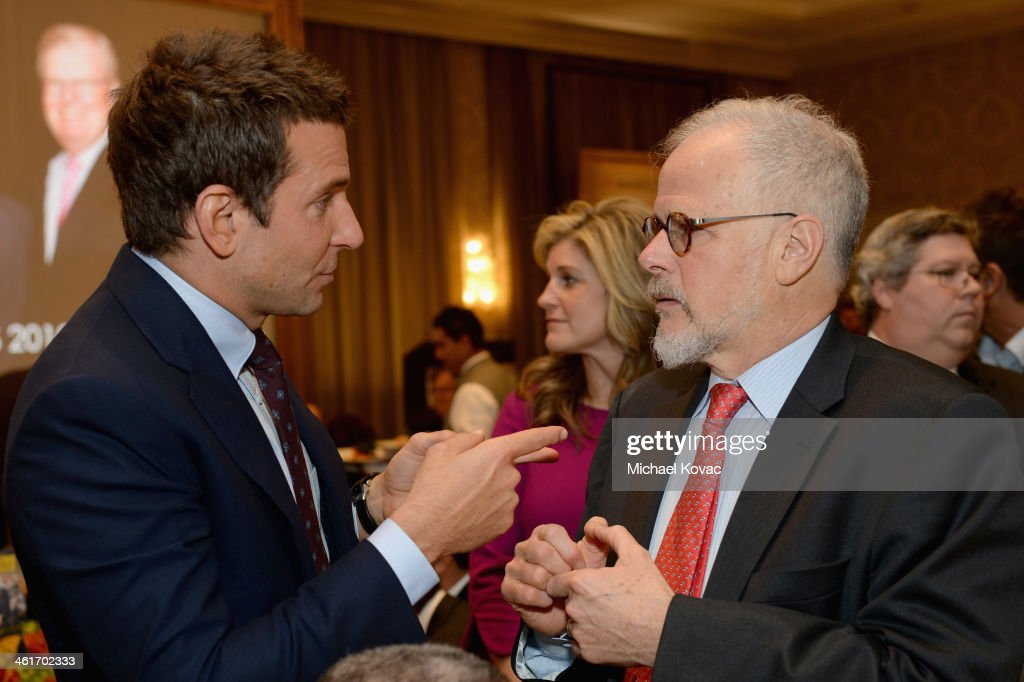 Actor Bradley Cooper and film editor Jay Cassidy attend the 14th annual AFI Awards Luncheon at the Four Seasons Hotel Beverly Hills on January 10...