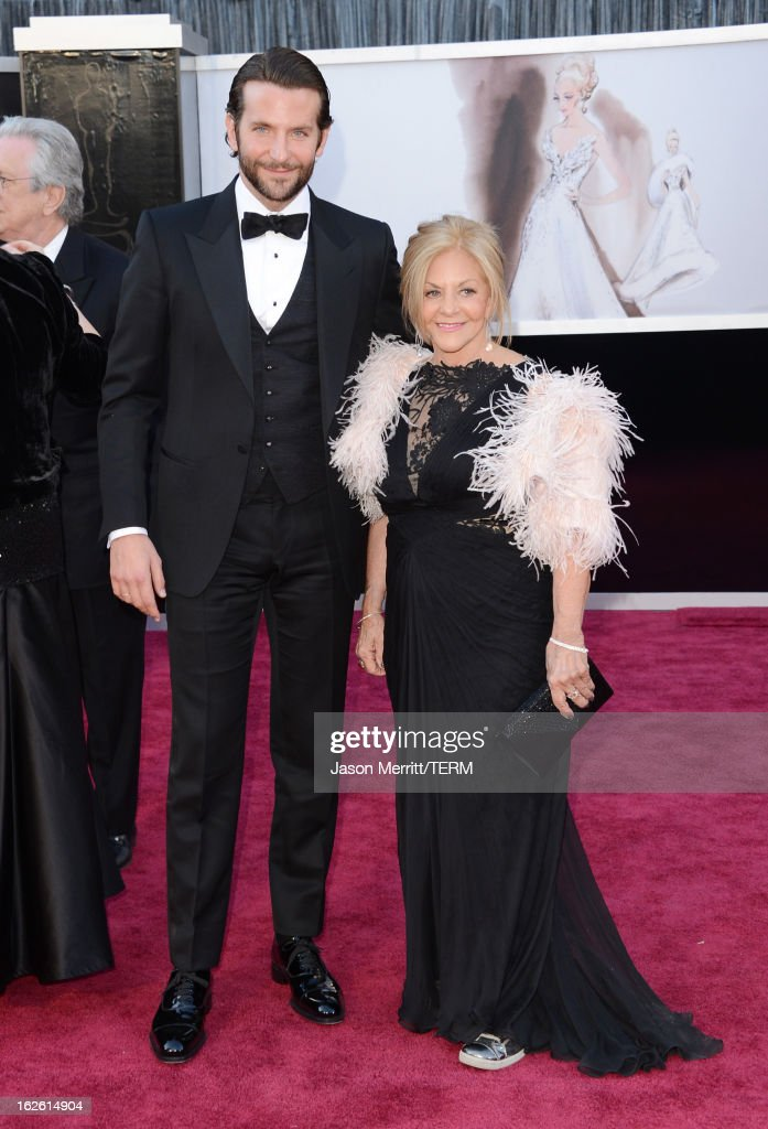 Actor Bradley Cooper and mother Gloria Cooper arrive at the Oscars at Hollywood & Highland Center on February 24, 2013 in Hollywood, California.
