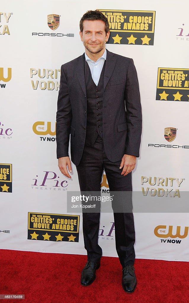 Actor Bradley Cooper arrives at the 19th Annual Critics' Choice Movie Awards at Barker Hangar on January 16, 2014 in Santa Monica, California.