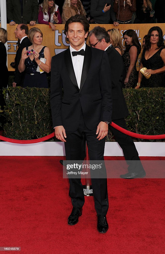 Actor Bradley Cooper arrives at the 19th Annual Screen Actors Guild Awards at The Shrine Auditorium on January 27, 2013 in Los Angeles, California.