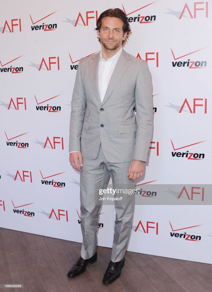 Actor <a gi-track='captionPersonalityLinkClicked' href=/galleries/search?phrase=Bradley+Cooper&family=editorial&specificpeople=680224 ng-click='$event.stopPropagation()'>Bradley Cooper</a> arrives at the 2012 AFI Awards Luncheon on January 11, 2013 in Beverly Hills, California.