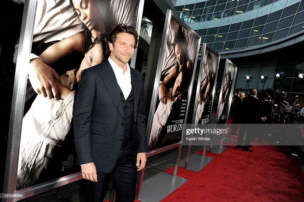 Actor <a gi-track='captionPersonalityLinkClicked' href=/galleries/search?phrase=Bradley+Cooper&family=editorial&specificpeople=680224 ng-click='$event.stopPropagation()'>Bradley Cooper</a> arrives at the premiere of CBS Films' 'The Words' at the Arclight Theatre on September 4, 2012 in Los Angeles, California.