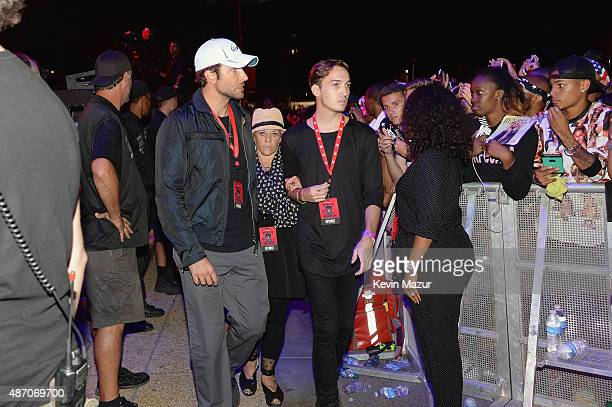 Actor Bradley Cooper attends Beyonce's performance during the 2015 Budweiser Made in America Festival at Benjamin Franklin Parkway on September 5...