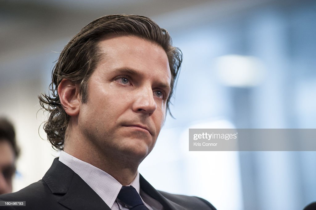 Actor Bradley Cooper attends the 'Silver Lining Playbook' mental health progress press conference at Center For American Progress on February 1, 2013 in Washington, DC.
