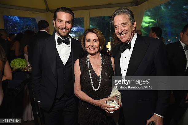 Actor Bradley Cooper Nancy Pelosi and Paul Pelosi attend the Bloomberg Vanity Fair cocktail reception following the 2015 WHCA Dinner at the residence...