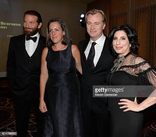 Actor Bradley Cooper producer Emma Thomas director Christopher Nolan and honoree Sue Kroll attend the 30th Annual American Cinematheque Awards Gala...
