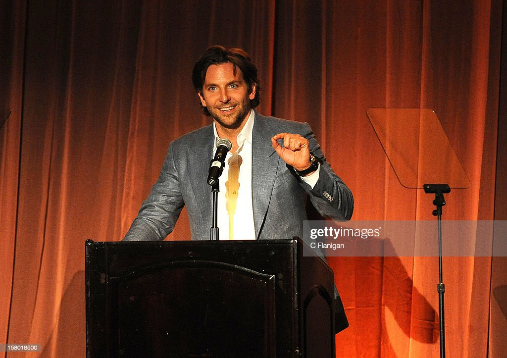 Actor <a gi-track='captionPersonalityLinkClicked' href=/galleries/search?phrase=Bradley+Cooper&family=editorial&specificpeople=680224 ng-click='$event.stopPropagation()'>Bradley Cooper</a> speaks during SBIFF's 2012 Kirk Douglas Award For Excellence In Film during the Santa Barbara Film Festival on December 8, 2012 in Santa Barbara, California.