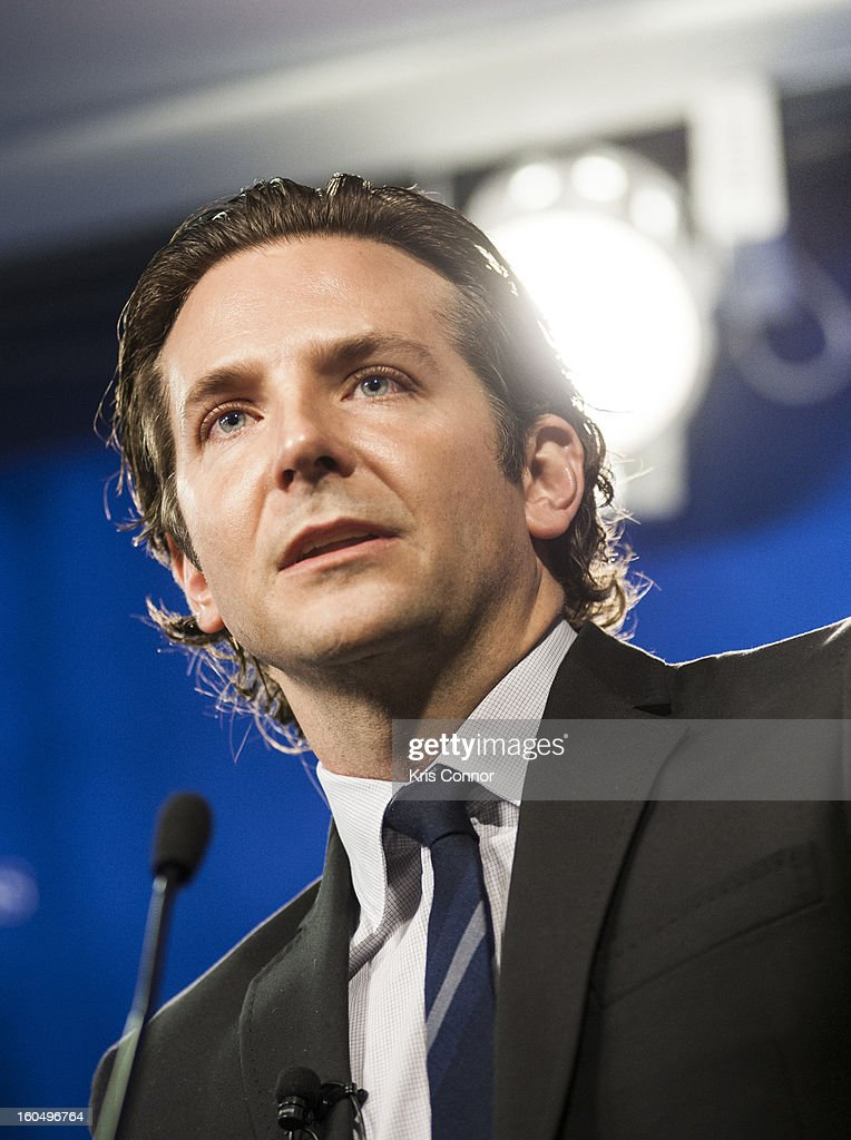 Actor Bradley Cooper speaks during the 'Silver Lining Playbook' mental health progress press conference at Center For American Progress on February 1, 2013 in Washington, DC.
