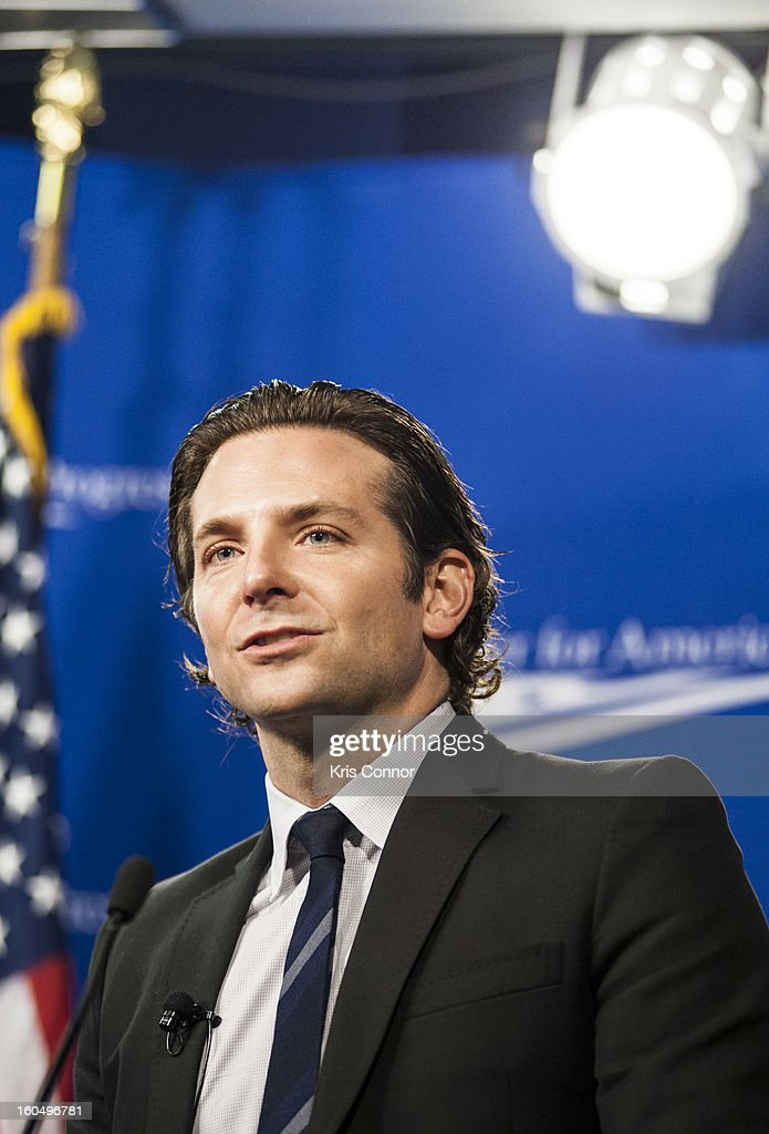 Actor Bradley Cooper speaks during the 'Silver Lining Playbook' mental health progress press conference at Center For American Progress on February 1, 2013 in Washington, DC. (Photo by Kris Connor/Getty Images) ** Local Caption ** Bradley Cooper