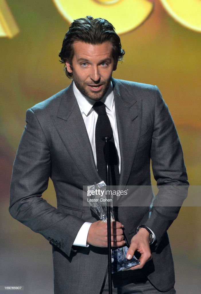 Actor <a gi-track='captionPersonalityLinkClicked' href=/galleries/search?phrase=Bradley+Cooper&family=editorial&specificpeople=680224 ng-click='$event.stopPropagation()'>Bradley Cooper</a> speaks onstage during the 18th Annual Critics' Choice Movie Awards at The Barker Hanger on January 10, 2013 in Santa Monica, California.