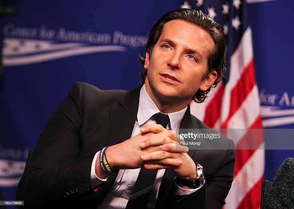 Actor Bradley Cooper, star of 'Silver Linings Playbook', a movie about a man with bipolar disorder, answers questions at the 'Silver Lining Playbook' Mental Health Progress Press Conference at Center For American Progress on February 1, 2013 in Washington, DC.