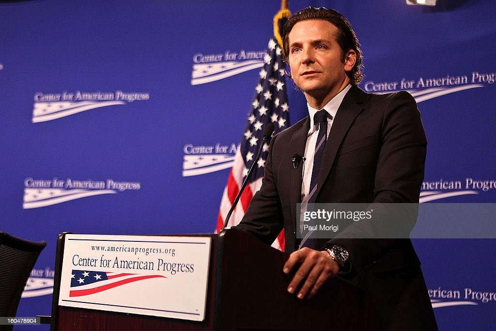 Actor Bradley Cooper, star of 'Silver Linings Playbook', a movie about a man with bipolar disorder, makes a few remarks at the 'Silver Lining Playbook' Mental Health Progress Press Conference at Center For American Progress on February 1, 2013 in Washington, DC.