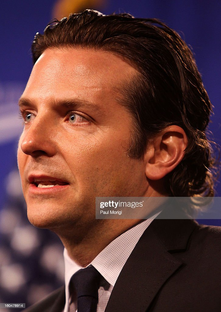 Actor <a gi-track='captionPersonalityLinkClicked' href=/galleries/search?phrase=Bradley+Cooper&family=editorial&specificpeople=680224 ng-click='$event.stopPropagation()'>Bradley Cooper</a>, star of 'Silver Linings Playbook', a movie about a man with bipolar disorder, makes a few remarks at the 'Silver Lining Playbook' Mental Health Progress Press Conference at Center For American Progress on February 1, 2013 in Washington, DC.
