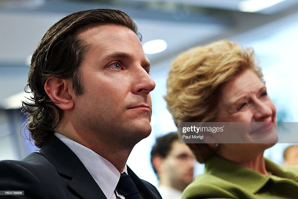 Actor Bradley Cooper, star of 'Silver Linings Playbook', and Senator Debbie Stabenow (D-MI) attend the 'Silver Lining Playbook' Mental Health Progress Press Conference at Center For American Progress on February 1, 2013 in Washington, DC.
