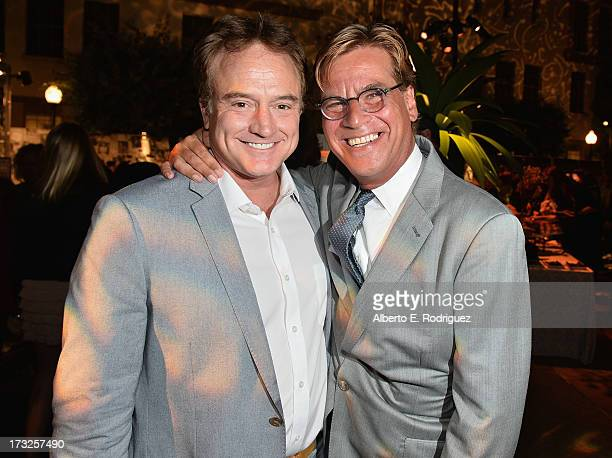 Actor Bradley Whitford and Creator/Executive Producer Aaron Sorkin attend the after party for the premiere of HBO's 'The Newsroom' Season 2 at...